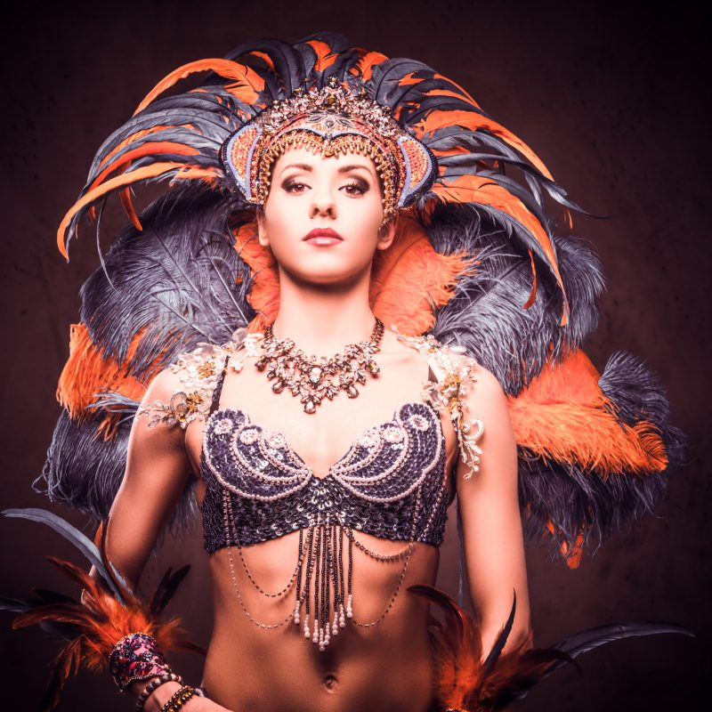 Studio portrait of a sexy female in a colorful sumptuous carnival feather suit, posing on a dark background.